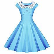 Samtree Women's Vintage Audrey Hepburn Style Classy Floral A-line Swing Dress(Asia XL,Blue)