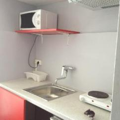 Small Kitchen Sinks Mirrored Cabinets 小厨房 冰箱 炉 微波炉 水槽 Picture Of Hostel Meyerbeer Nice