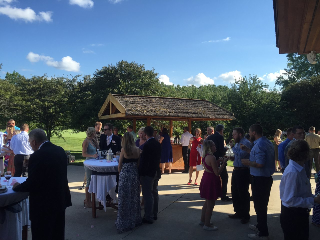 outdoor patio with bar service from the