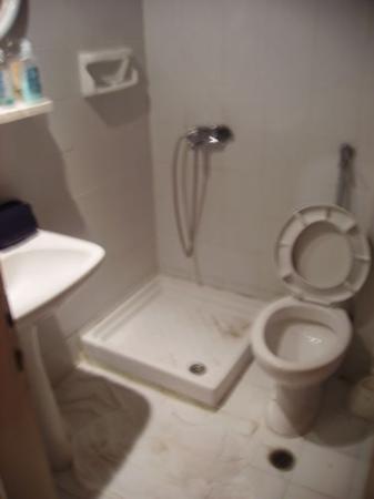 small bathroom no shower curtain