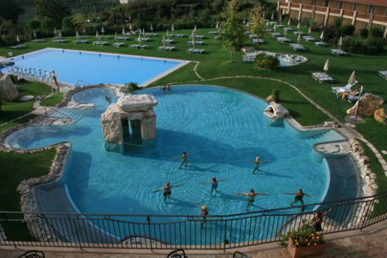 View of the pools from the bar terrace  Picture of Hotel Adler Thermae Spa  Relax Resort