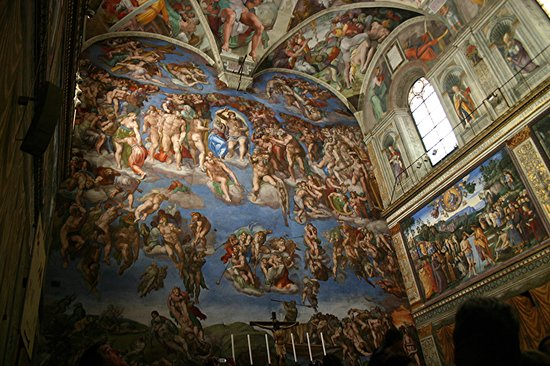 Close up of ceiling panel by Michaelangelo: Downfall of