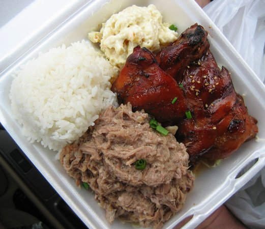 Kalua Pork Teriyaki Chicken Steamed Rice PotatoMac