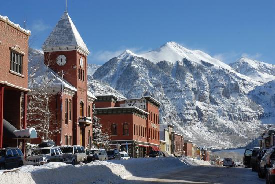 Winter in historic downtown Telluride Colorado  Picture