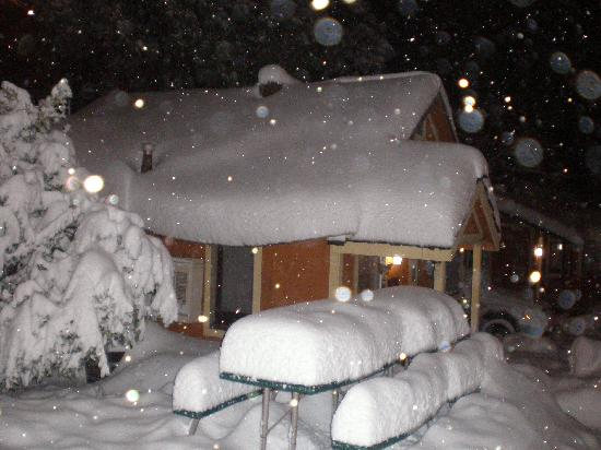Cabin with snow  Picture of Sleepy Hollow Cabins and