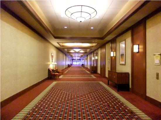 Inside the hotel lobby.