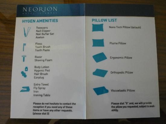 Pillow menu  Picture of Neorion Hotel Istanbul  TripAdvisor