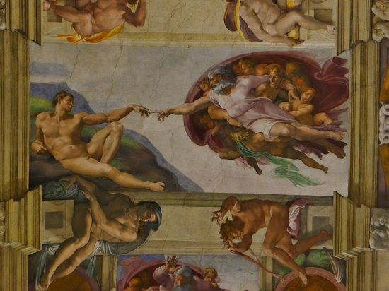 The most famous of the ceiling paintings, Creation of Adam