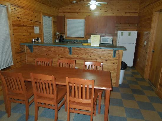 natural gas kitchen stove floral curtains dining table & kitchen, cabin 2 - picture of lake louisa ...