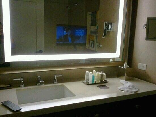 TV imbedded in bathroom mirror impressive feature