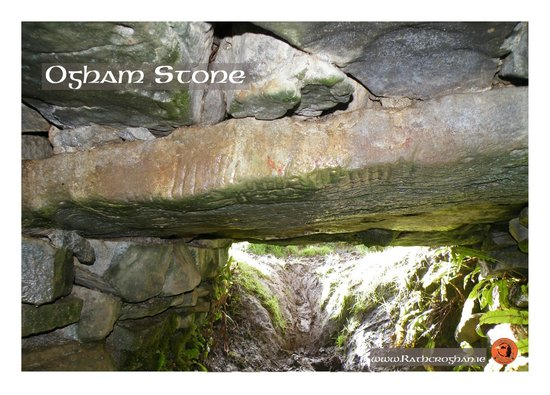 The Ogham Stone over the Cave Entrance