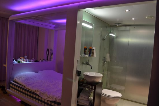 Our Room With Violet Lights Picture Of Qbic Hotel