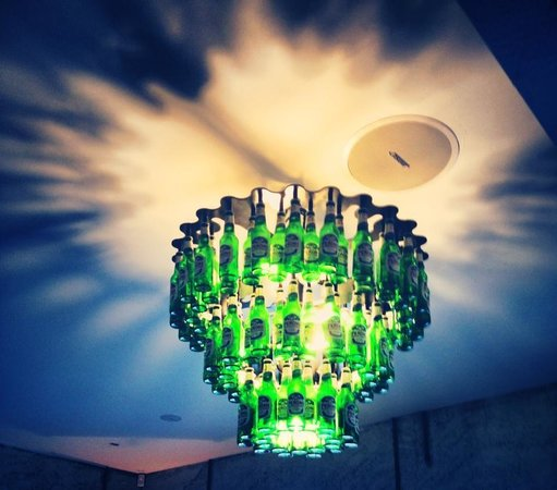 The Factory French Bistro Bar Gorgeous Beer Bottle Chandelier