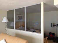 Plastic partition instead of wall and door between living ...