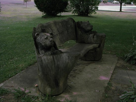 a bear bench carved