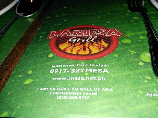 Menu  Picture of La Mesa Grill Cebu Island  TripAdvisor
