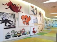 Front lobby and reception area animation wall - Picture of ...