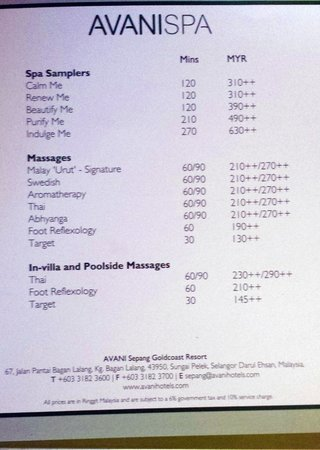 Extremely expensive spa packages  Picture of AVANI Sepang