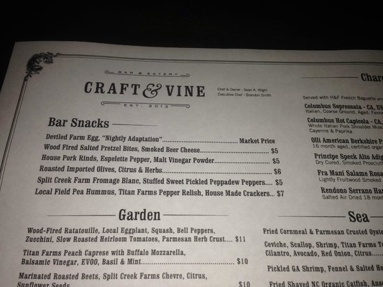 Menu Picture Of Craft Vine Augusta Tripadvisor