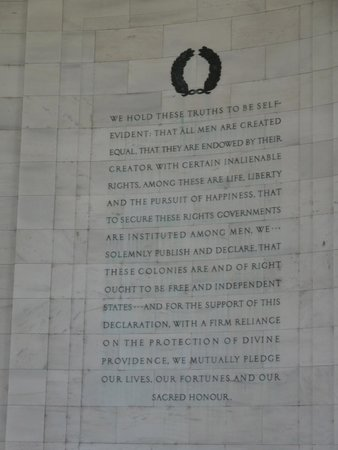 Inscription on the inside wall of the Jefferson Memorial