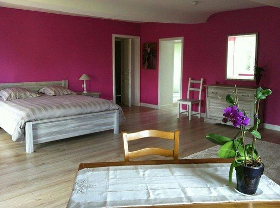 La chambre rose la plus grande chambre de la maison  Photo de Au Magnolia TroisMonts