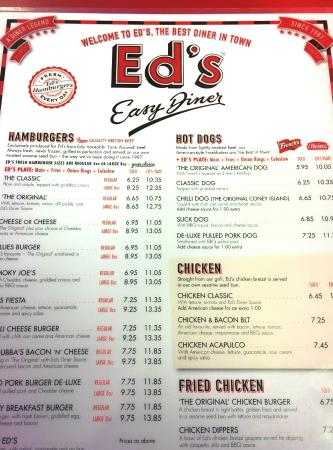 Menu  Picture of Eds Easy Diner  Mayfair London