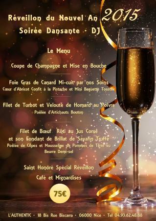restaurant l authentic menu du nouvel an