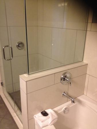 Glass Shower Next To A Very Deep And Comfortable Bathtub