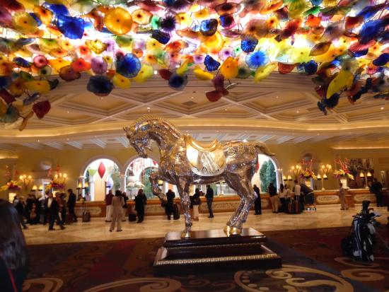Signature At Mgm Grand Lobby Of Bellagio With Crystal Chandelier And Horse