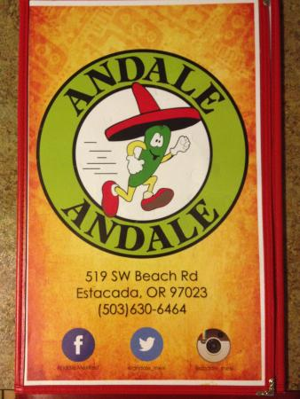 Cover of Menu  Picture of Andale Andale Mexican Restaurant Estacada  TripAdvisor
