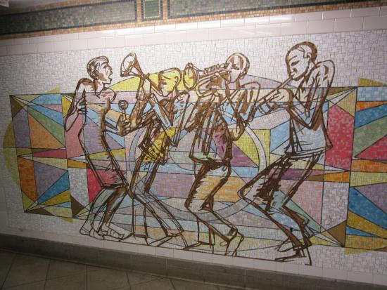 jazz tile mural in nyc subway picture