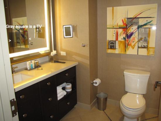 bathroom with a TV in the mirror  Picture of Omni Dallas