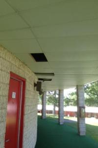 Ceiling tiles missing on outside of the room - Picture of ...