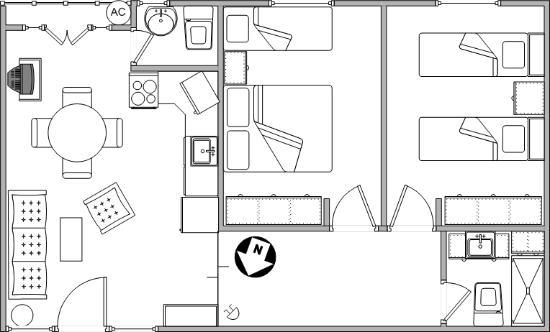 Croquis de Ambientes y Mobiliario Departamento 1B