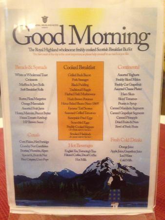 breakfast buffet menu - Picture of Royal Highland Hotel. Inverness - Tripadvisor