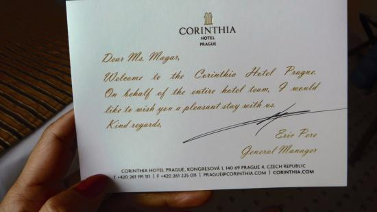 Welcome letter to hotel guest textpoems welcome letter picture of corinthia hotel prague spiritdancerdesigns Choice Image