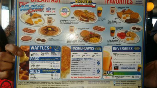 Waffle House Prices Menu
