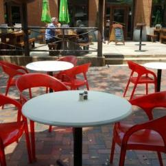 Outdoor Restaurant Chairs Chair Design Hatil Cafe S Bold Red Dining Across From Flying Saucer Galaxy Taproom