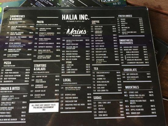 The menu  Picture of Halia Inc Coffee Bar  Restaurant