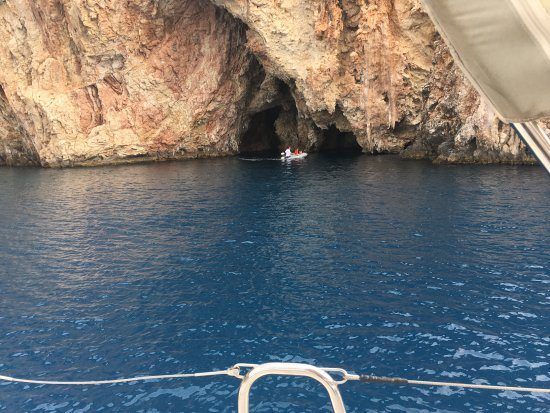 Exploring The Caves In The Dinghy Picture Of Nisos Yacht