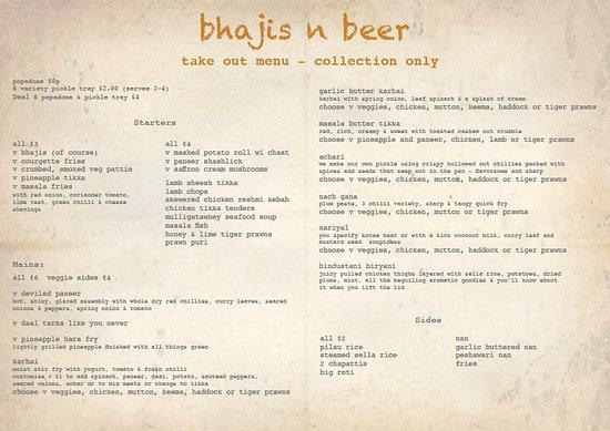 Takeout menu - Picture of Bhajis n Beer, Bradford - TripAdvisor