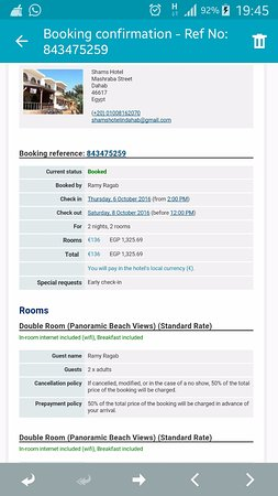 Reservation Confirmation Mail Picture Of Shams Hotel