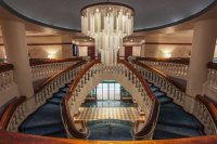 Grand staircase & chandelier from 2nd floor - Picture of ...