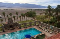 Inn At Furnace Creek. View from above, lobby, dining room ...