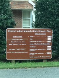 Front Entrance Sign - Picture of Etowah Indian Mounds ...