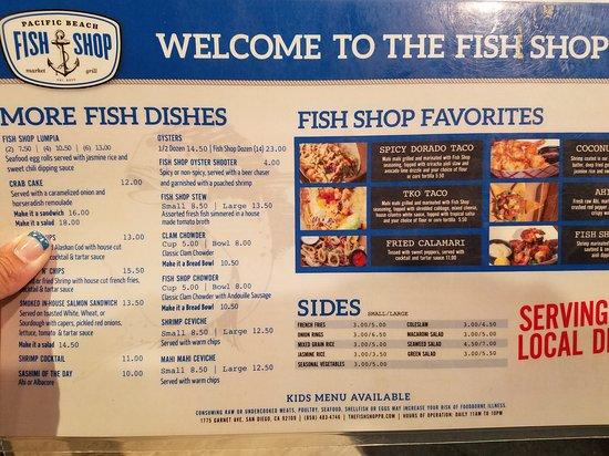 Fish Shop Pacific Beach Menu