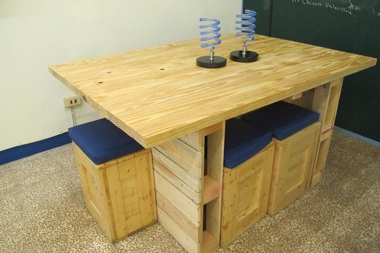 wood table kitchen rustic 手製的棧板改造的木桌 是我們跟客人一起完成的 west central district 极宽厨房 西班牙油条店照片
