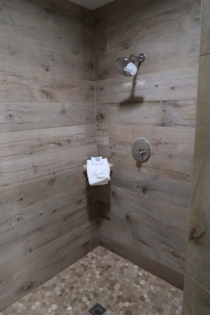 large shower with weathered wood look