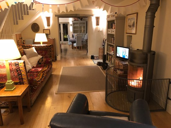 cosy living room with log burner blue leather chairs the master bedroom at fentafriddle picture of was so wood it leads on