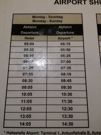 Shuttle Bus Time Table Picture Of Ibis Frankfurt Airport